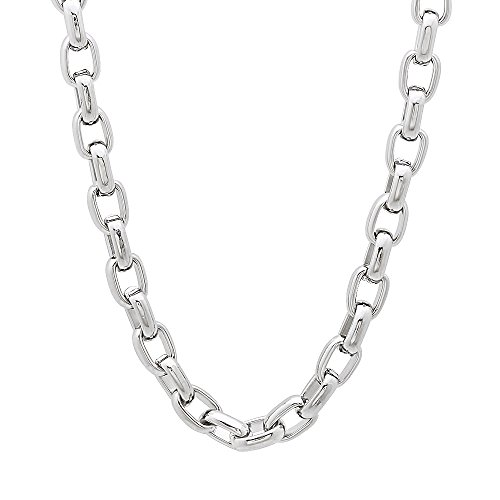 The Bling Factory 5mm Durable Solid Stainless Steel Oval Link Cable Chain Necklace, 20 inches