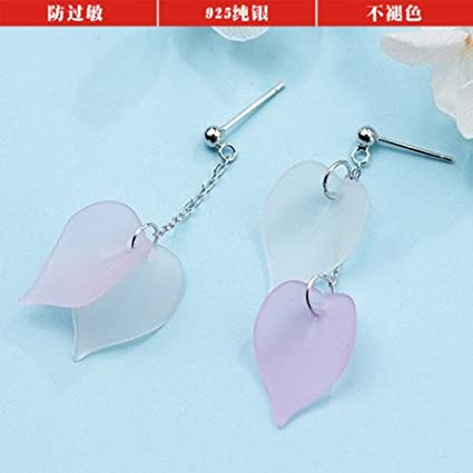 New s925 silver earrings women girls pink cherry blossom petals asymmetrical leaf earrings sweet personality long paragraph Nelswet Jewelry