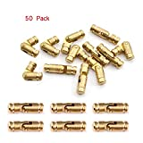 50-Pack Brass Concealed Hinge DIY Jewelry Box Furniture Hand Craft Golden,Hidden Hinge (1.18''x0.2'' (30x5mm))