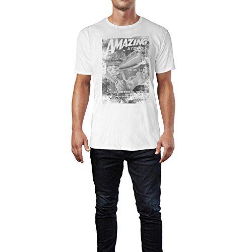 SINUS ART® Amazing Stories Herren T-Shirts stilvolles weißes Fun Shirt mit tollen Aufdruck
