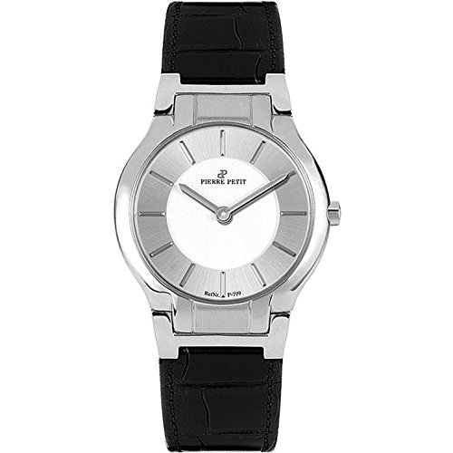 Pierre Petit Women's P-799B Serie Laval Steel Case Black Genuine Leather Watch
