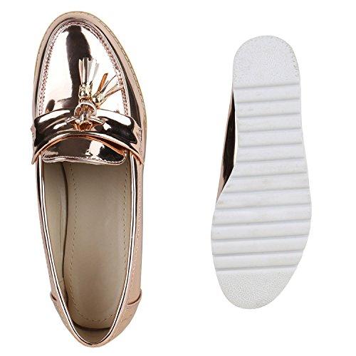 ... Damen Slipper Lack Plateau Loafers Metallic Schuhe Profilsohle Loafer  Flats Glitzer Slippers Quasten Lochung Flandell Gold d957ca59ab