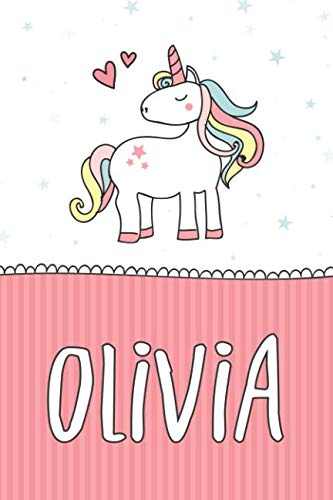 Olivia: Personalized With Name - Cute Notebook for Girls With Unicorn (Pink Pinstripe Journal)
