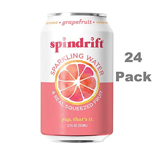 (Spindrift Sparkling Water, Grapefruit Flavored, Made with Real Squeezed Fruit, 12 Fluid Ounce Cans, Pack of 24 (Only 15 Calories per Seltzer Water)
