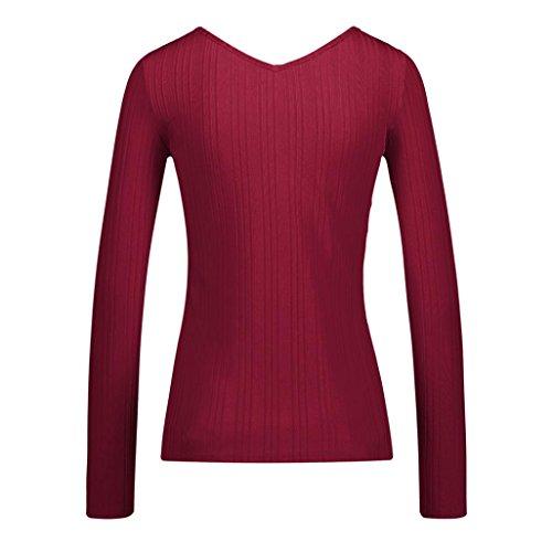 V Nouveau Blouses Mode Printemps Cou Rouge 2018 Automne Manches Cross T Nouveau Casual Femmes Tops bouriff X Longues Shirt Solides zahuihuiM qvI4x
