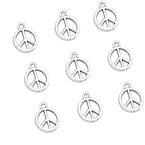 - 100pcs Vintage Antique Silver Alloy Peace Symbol Charms Pendant Jewelry Findings for Jewelry Making Necklace Bracelet DIY 15x12mm(100pcs Silver Peace)