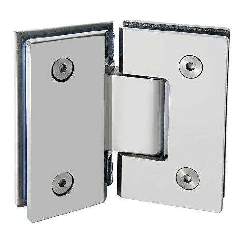 Alise Heavy Duty 135 Degree Glass Door Cupboard Showcase Cabinet Clamp Glass Shower Doors Hinge Replacement Parts,Stainless Steel Polished Chrome