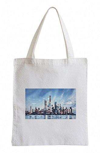 Raxxpurl Pixel Skyline Fun sacchetto di iuta