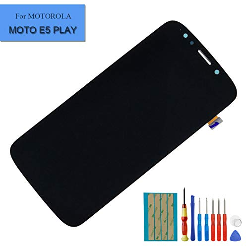 New LCD Display Compatible with Motorola E5 Play Digitizer Full Assembly Front Panel (Black) + Tools