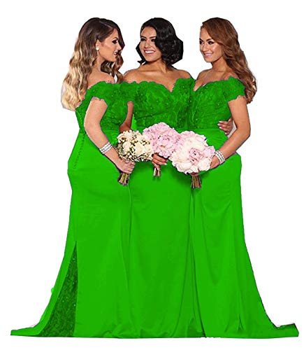 Fanciest Women's Lace Bridesmaid Dresses Long 2019 Formal Mermaid Maid of Honor Gowns US20 Lime Green