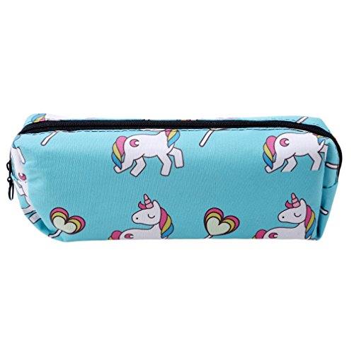 HENGSONG Women Girls Unicorn Makeup Pouch Cosmetics Bag Key Bag Coin Purse Stationery Case Pencil Case with Zipper Gifts (Blue)
