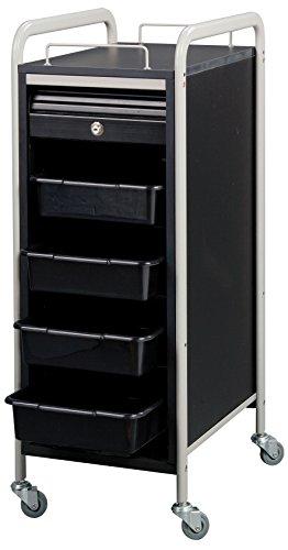 Savvy SAV-505-BB Salon Lockable Roller Cart Trolley in (BLACK / GRAY) + Free YS Park L-Clips ($15 value) by Savvy
