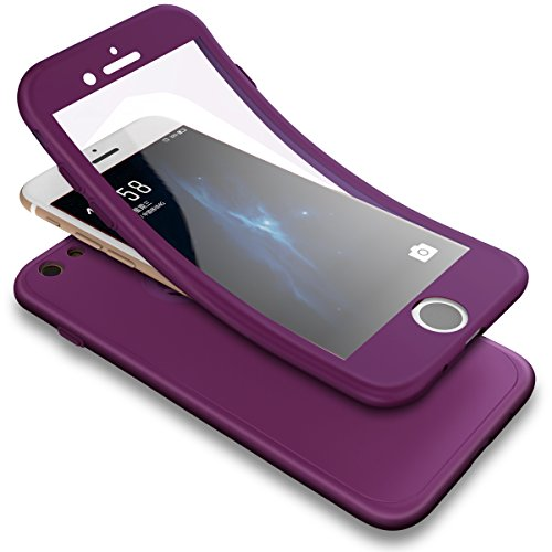 PHEZEN iPhone 6S Case,iPhone 6 Case, 3 in 1 Shockproof Full Body Coverage Protection Soft TPU Silicone Rubber Case with Tempered Glass Screen Protector for iPhone 6/6S, Purple