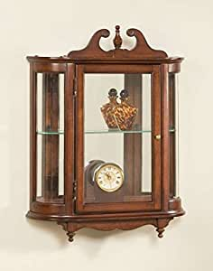 Wall Curio w Curved Glass Sides