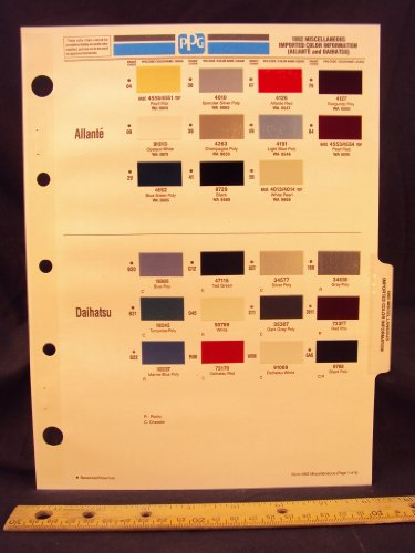 1992 92 IMPORT CADILLAC Allante' & DAIHATSU Paint Colors Chip Page