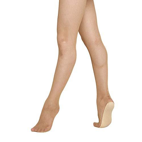 Professional Women Latin Seamless Tights Fishnet Stockings Girl For Ballroom Samba Tango Dancing Pantyhose (Pink, Large/X-Large)
