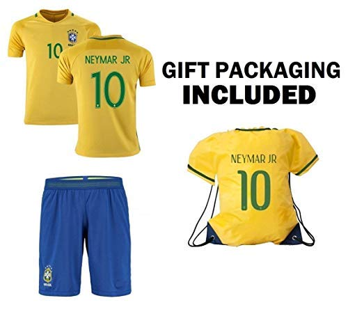 (Brazil Home World Cup Kids Soccer Jersey with Matching Shorts - All Youth Sizes Ages (Neymar Jr #10 Kit for 10-13 Years))