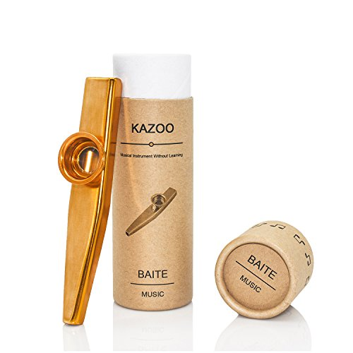 Exquisite Aluminum Alloy Kazoo with A Beautiful Gift Box (A good companion for a guitar, ukulele) (Gold)]()