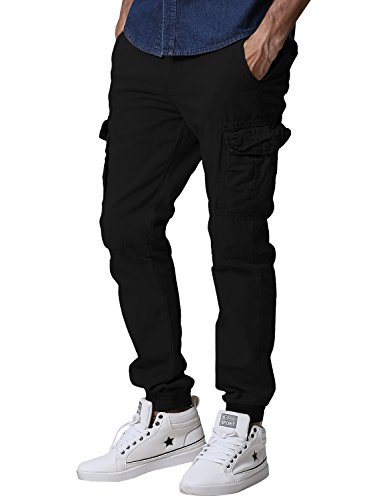 Match Men's Regular Fit Chino Jogger Cargo Pant (34W x 33L, 6539 Black)