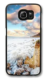 Beach Background Stones On The Polycarbonate Hard Case Cover for Samsung S6/Samsung Galaxy S6 Black Kimberly Kurzendoerfer