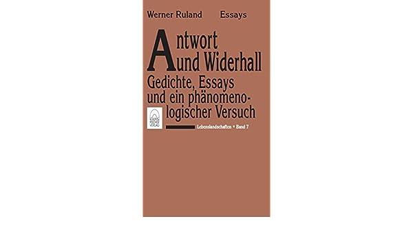 Lebenslandschaften / Antwort und Widerhall: Gedichte, Essays und ein ...