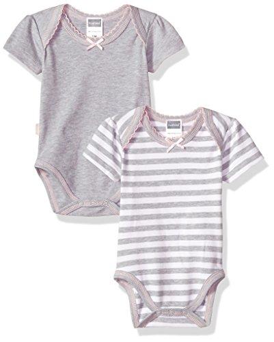 Kushies Baby Girls Classics 2-Pack Bodysuits, Grey 1m