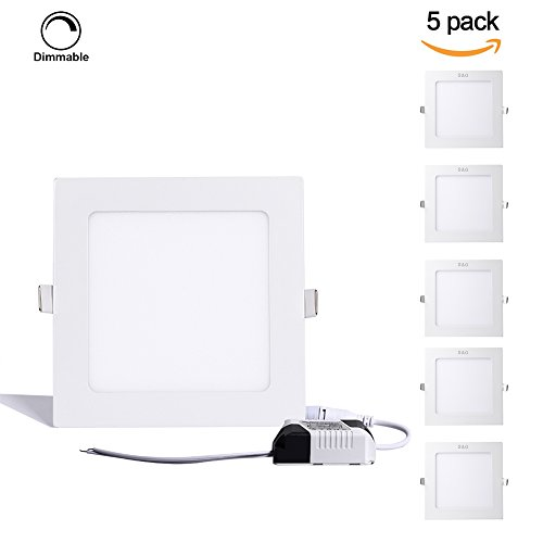 S&G LED Light Panel, Dimmable Under Cabinet Lighting, 18W Square Panel Lights 1310LM 5000k(Day White), Hole Size:205MM, AC110V, LED Driver Include(5 Pack)