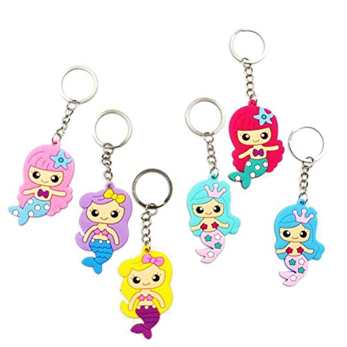 Toyvian 12 Pcs Cute Mermaid Keychains Silicone Keyrings Birthday Gifts for Girls (Random Mix) ()