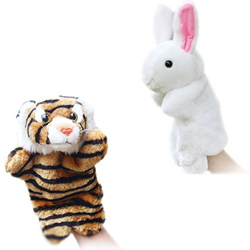 2pcs Plush Toys Hand Puppets for Toddlers Animal Friends Storytelling Game Props--Rabbit and Tiger