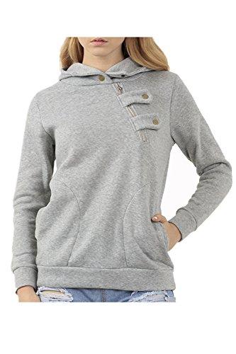 Camiseta De Manga Larga De Las Mujeres Sudaderas Con Capucha Sudadera Con Capucha Bolsillo Boton Grey