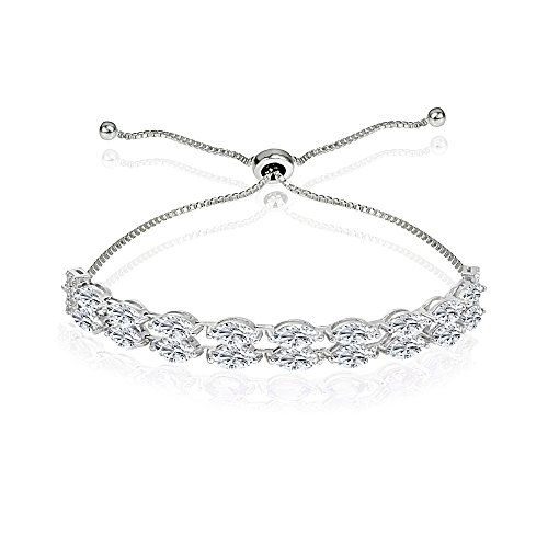 - Sterling Silver Created White Sapphire Marquise-Cut Two Row Tennis Style Adjustable Bracelet for Women Teens Girls