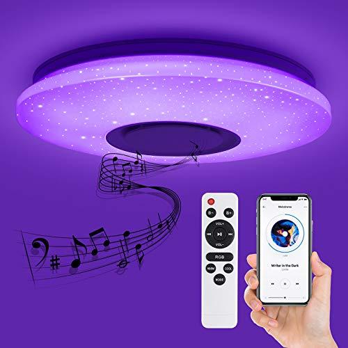 Deckey LED plafondlamp, dimbare afstandsbediening of APP, ster plafondlamp met bluetooth speaker, slaapkamerlamp…