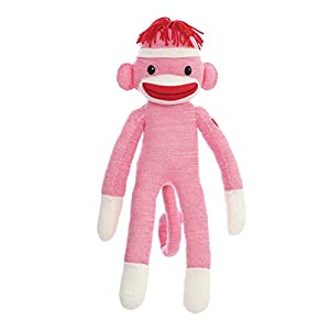 "Plushland 20"" Tall Adorable SOCK MONKEY, Soft Realistic Plush Knitted Stuffed Animal Toy Gift - For Kids, Babies, Teens, Girls and Boys Baby Doll Present Puppet (Pink)"