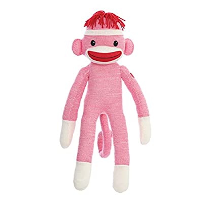 Plushland Adorable Sock Monkey, The Original Traditional Hand Knitted Stuffed Animal Toy Gift-for Kids, Babies, Teens, Girls and Boys Baby Doll Present Puppet 20 Inches