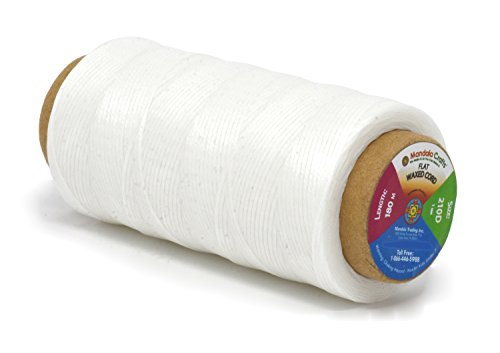 - Mandala Crafts 150D 210D 0.8mm 1mm Leather Sewing Stitching Flat Waxed Thread String Cord (210D 1mm 180M, White)