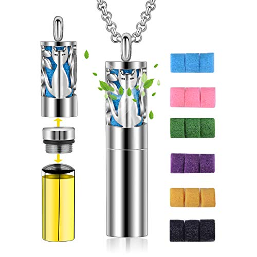 CELESTIA Diffuser Necklace for Women, Aromatherapy Essential Oil Pendant Cat Pattern Lockets Necklace with Container 2-in-1 Stainless Steel Jewelry + 18 Pads + 24 in Chain