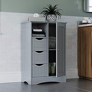 RiverRidge Ashland Collection 1 Door, 3 Drawer Floor, Gray Cabinet