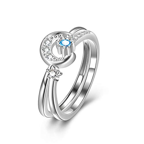 LUHE Moon and Star Rings Sterling Silver Blue Adjustable Open Size Star Ring Wedding Promise Ring