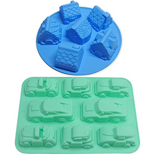 Cake Molds, Chokov 2pcs Large House & Car Silicone Mold Gingerbread Cake Pan for Muffin Cake Cupcake Pudding Ice Cube Bath Bomb Soap Making