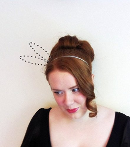 Set Of 10 Bunny Headbands, Party Pack Of Ten Black Beaded Rabbit Ear Hair Bands, For Parties, Hen Nights, Bachelorette & Bridal Showers