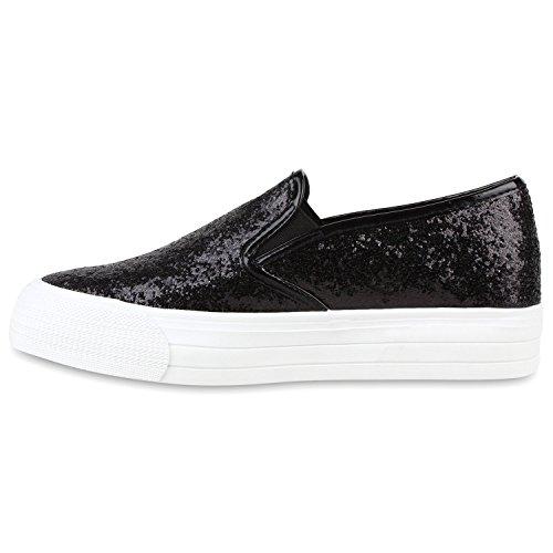 Japado Komfortable Damen Sneakers Bequeme Slipper Funkelnde Glitzerapplikationen Modische Plateausohle Gr. 36-41 Schwarz