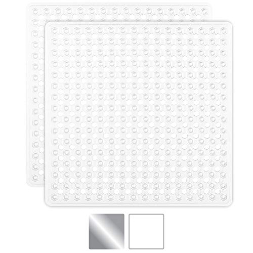 Gorilla Grip Original Patented Bath, Shower, and Tub Mat, 21×21, Machine Washable, Antibacterial, BPA, Latex, Phthalate Free, Square Bathroom Mats with Drain Holes, Suction Cups, Pack of 2, White