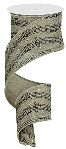 Music Notes Ribbon/Christmas Tree Garland in Classic Black & Tan with Glitter Accents- 1.5