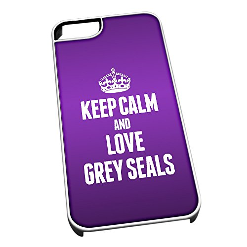 Bianco cover per iPhone 5/5S 2432viola Keep Calm and Love Grey Seals