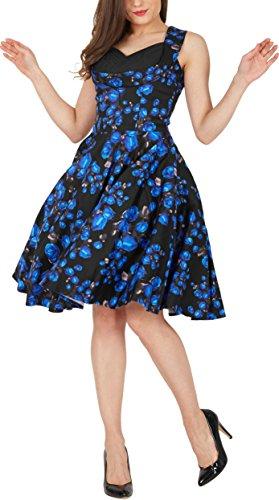 BlackButterfly 'Aura' Vestido Classic Harmony Años 50 Rosas Azules