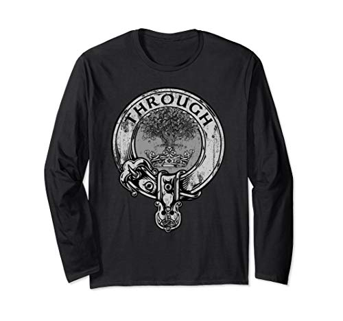 - Hamilton Clan Vintage Retro Distressed Crest Tartan Through Long Sleeve T-Shirt
