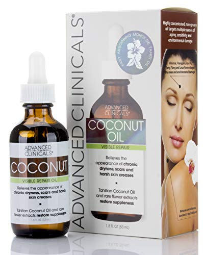 2 Oz Coconut Oil Moisturizer - Advanced Clinicals Coconut Oil for Skin. Repair Coconut Oil for Face, Body and Hair. For Chronic Dryness, Scars, Stretch Marks and Harsh Skin Creases. 1.8 Fl Oz.