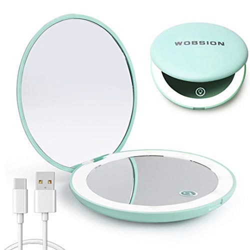 wobsion Led Compact Mirror, Rechargeable 1x/10x Magnification Compact Mirror, Dimmable Small Travel Makeup Mirror,Pocket…