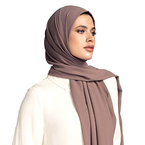 (Voile Chic Earth Grey Premium Chiffon Wrap Head Scarf (Non-Slip))