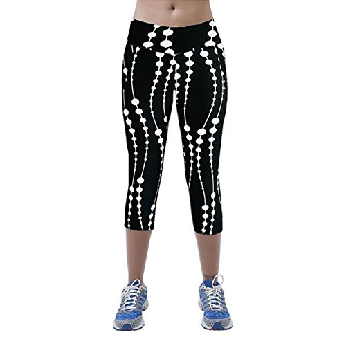 Clearance Sale! Women Pants WEUIE High Waist Fitness Yoga Sport Pants Printed Stretch Cropped Leggings (S, (All Sport Capri Apparel)